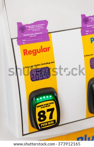 PORTLAND, OR - FEBRUARY 2, 2016: Gas pump octane selection numbers and buttons at a gasoline station in Oregon.