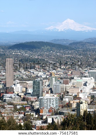 Portland OR. & Mt. Hood. - stock photo