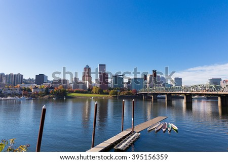 PORTLAND, OR - OCTOBER 24, 2015: City skyline of downtown Portland Oregon commonly referred to as PDX or the City of Roses.