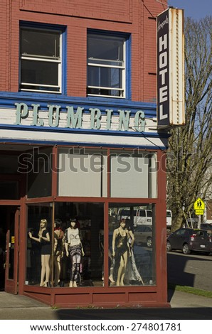 Portland, OR, USA - March 7, 2015: Downtown portland oregon sex or exotic clothing shop along Burnside Street window display