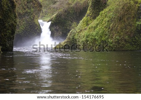 Portland Oregon and Punch Bowl Falls Waterfall - stock photo