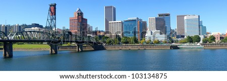 Portland Oregon architecture, the Spirit of Portland ship and river. - stock photo