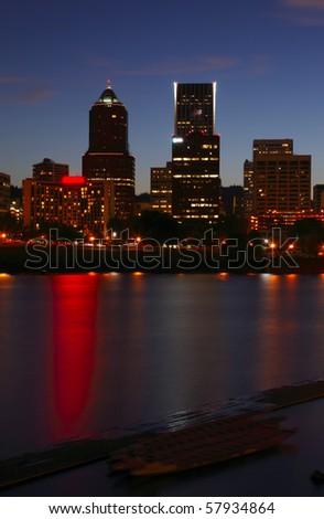Portland Oregon at dusk. - stock photo