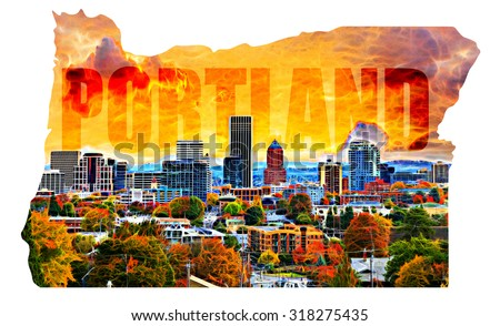 Portland Oregon Cityscape with Text in Map Outline - stock photo