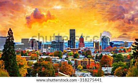 Portland Oregon Downtown City During Sunset in the Fall Season Abstract Painting - stock photo