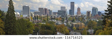 Portland Oregon Downtown City Skyline and Landscape in Autumn Season Panorama