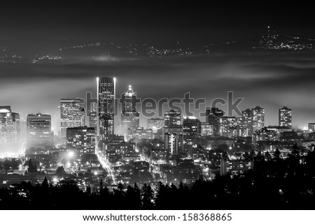 Portland Oregon in Fog - stock photo