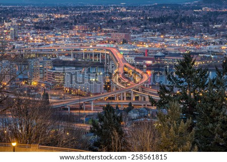 Portland Oregon Marquam Freeway Light Trails with Eastside City Lights during Evening Blue Hour - stock photo