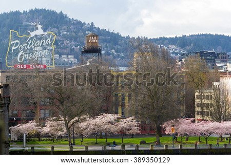 Portland Oregon Old Town waterfront with Cherry Blossom trees blooming in Springtime - stock photo