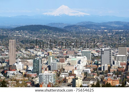 Portland Oregon panorama from Pittok Mansion. - stock photo