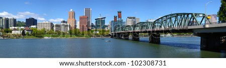 Portland Oregon skyline and bridge panorama. - stock photo