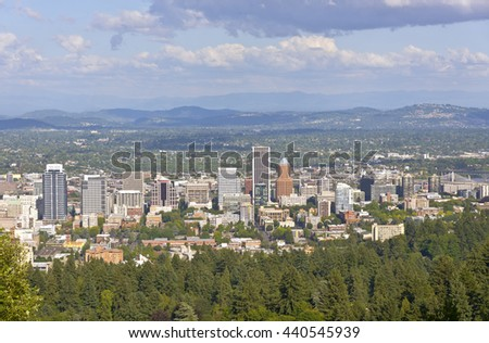 Portland Oregon skyline and surrounding area.