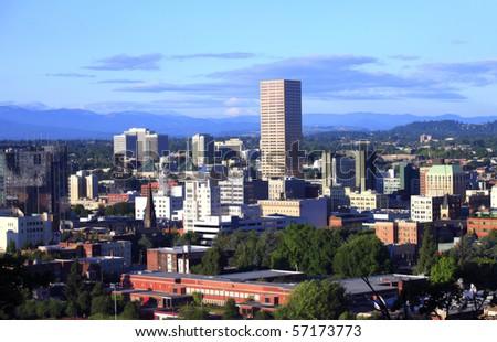Portland Oregon skyline at sunset. - stock photo