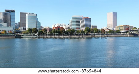 Portland Oregon skyline panorama & the Willamette river. - stock photo