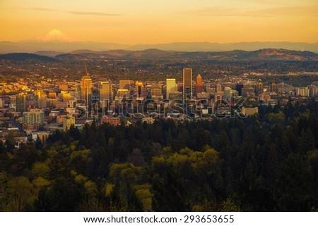 Portland Oregon Sunset Vista. Scenic Oregon and Portland Cityscape at Sunset. United States. - stock photo