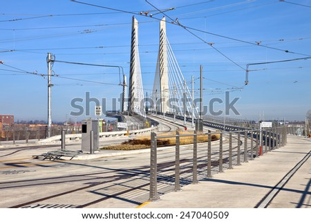 Portland Oregon Tilikum crossing and pedestrian bridge under construction.  - stock photo