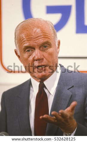 PORTLAND, OREGON, USA - AUGUST 26, 1983: U.S. Senator John Glenn (D-Ohio) news conference during campaign for 1984 Democratic presidential nomination.