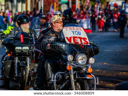 Portland, Oregon, USA - November 11, 2015: Veterans march in the annual Ross Hollywood Chapel Veterans Day Parade, in northeast Portland.