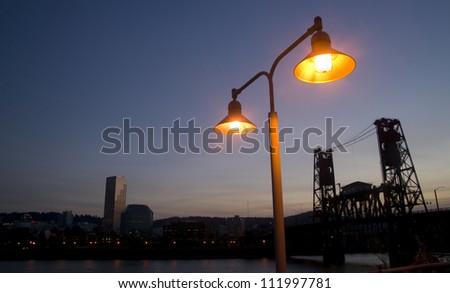 Portland Oregon Waterfront and Hawthorne Bridge United States North America - stock photo