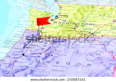 Portland pinned on a map of USA  - stock photo