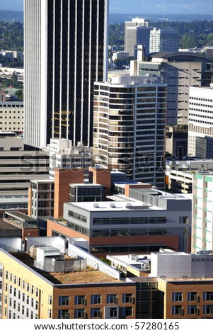 Portland Plaza and surrounding buildings, Portland OR. - stock photo