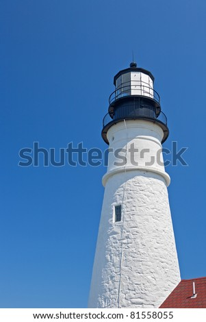 Portland's Headlight tower, located at Cape Elizabeth, Maine. - stock photo