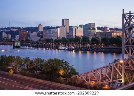Portland Skyline in twilight - stock photo