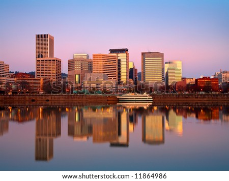 Portland Waterfront Sunrise - stock photo