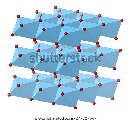 Portlandite (calcium hydroxide, Ca(OH)2, slaked lime, hydrated lime) mineral, crystal structure. Atoms shown as spheres and polyhedra (oxygen, red; hydrogen, pink; calcium, blue).  - stock photo