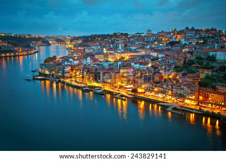 Porto after sunset, Portugal - stock photo