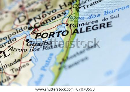 Porto Alegre in Brazil on the map. - stock photo