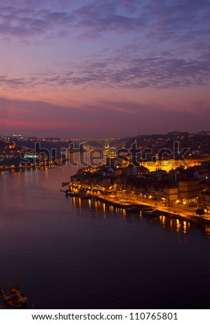 Porto and river Douro at sunset, Portugal - stock photo