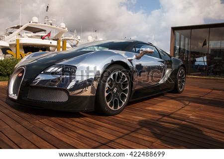 PORTO CERVO, ITALY - AUGUST 15: 2014 Bugatti Veyron  - stock photo