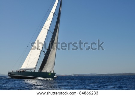 PORTO CERVO, ITALY - SEPTEMBER 10: Participants in the Maxi Yacht Rolex Cup boat race (yacht name: Saudade), on September 10,2011 in Porto Cervo, Italy - stock photo