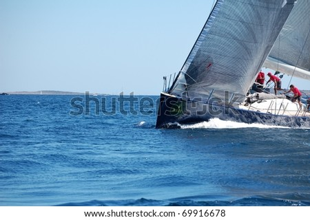 PORTO CERVO - SEPTEMBER 11: Maxi Yacht Rolex Cup boat race, on September 11 2010 in Porto Cervo, Italy - stock photo