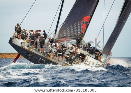 PORTO CERVO - 9 SEPTEMBER: Maxi Yacht Rolex Cup boat race, on September 9 2015 in Porto Cervo, Italy - stock photo