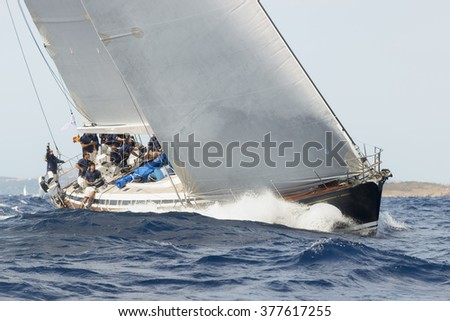 PORTO CERVO - 8 SEPTEMBER: Maxi Yacht Rolex Cup sail boat race, on September 8 2015 in Porto Cervo, Italy - stock photo