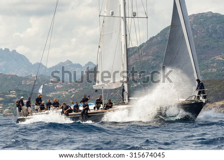 PORTO CERVO - 8 SEPTEMBER: Maxi Yacht Rolex Cup sail boat race. The event is one of international sailing?s most important and revered competitions. on September 8 2015 in Porto Cervo, Italy - stock photo