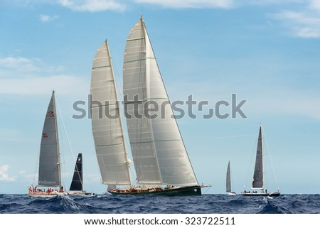 PORTO CERVO - 9 SEPTEMBER: Maxi Yacht Rolex Cup sail boat race. The event is one of international sailings most important and revered competitions. on September 9 2015 in Porto Cervo, Italy