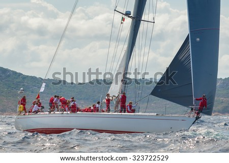 PORTO CERVO - 8 SEPTEMBER: Maxi Yacht Rolex Cup sail boat race. The event is one of international sailings most important and revered competitions. on September 8 2015 in Porto Cervo, Italy - stock photo