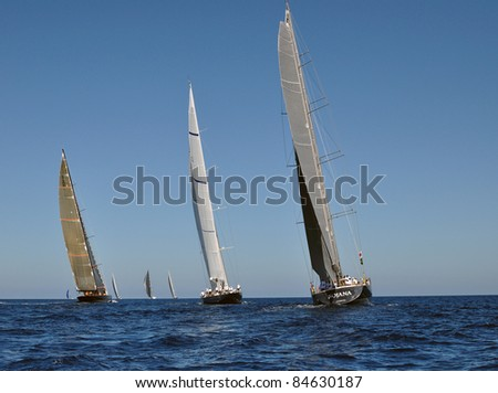 PORTO CERVO - SEPTEMBER 10: Participants in the Maxi Yacht Rolex Cup boat race (Boat: Sojana(C), Viriella (R)), on September 10,2011 in Porto Cervo, Italy