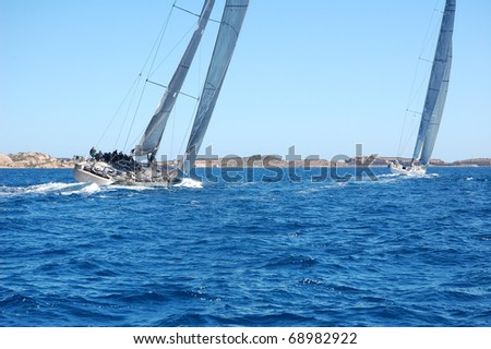 PORTO CERVO - SEPTEMBER 11: Participants in the Maxi Yacht Rolex Cup boat race, on September 11, 2010 in Porto Cervo, Italy