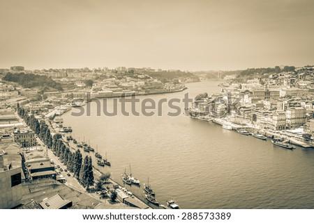 Porto cityscape and the Douro. - stock photo