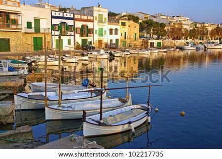 Porto Colom village in Majorca at sunset (Balearic Islands - Spain) - stock photo