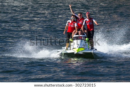 PORTO - GAIA, PORTUGAL - AUGUST 1, 2015: Philippe Chiappe (FRA) Team, celebrating victory during the U.I.M. F1H2O World Championship in Porto & Gaia, Portugal.