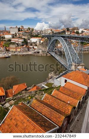 Porto in Portugal, Dom Luis I Bridge over Douro river, historic city centre. - stock photo