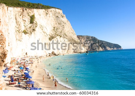 porto katsiki beach, lefkada, greece - stock photo