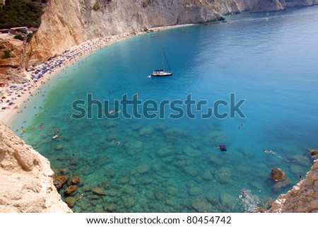Porto Katsiki  beach of Lefkada in Greece. above view - stock photo