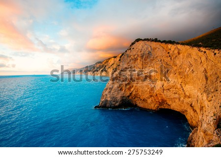 Porto Katsiki coast on Lefkada island in Greece on the sunset