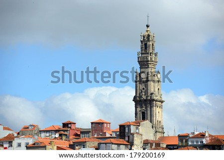 Porto Old City and Clerigos Tower (Portuguese: Torre dos Clerigos), Porto, Portugal. Porto Old City is registered as the UNESCO World Heritage Site since 1996. - stock photo